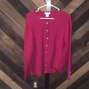 Women's red cardigan button up Worthington